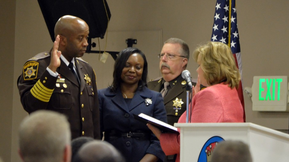 Sheriff-Elect Troy D. Berry is sworn in by Charles County Circuit Court Clerk Sharon L. Hancock