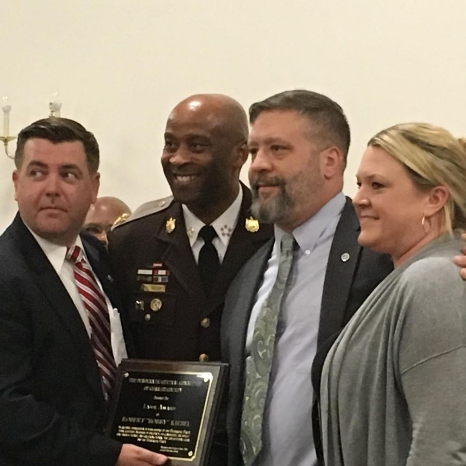 Pictured left to right: Mr. Gilbert Bowling, Sheriff Troy Berry, Lt. Bobby Kiesel and Mrs. Stephanie Kiesel