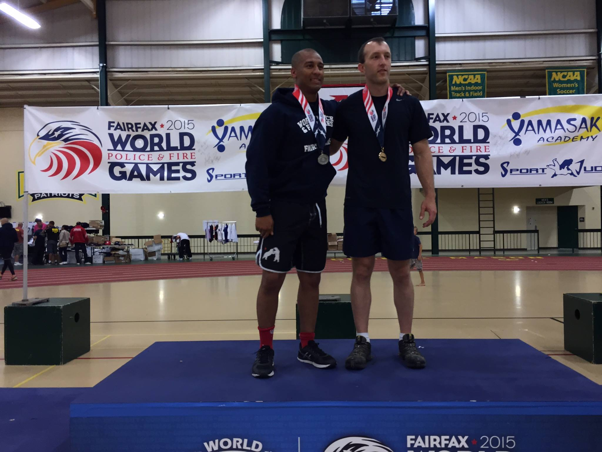Officer Clay Collins receives his Gold Medal in the Sub Grappling Competition