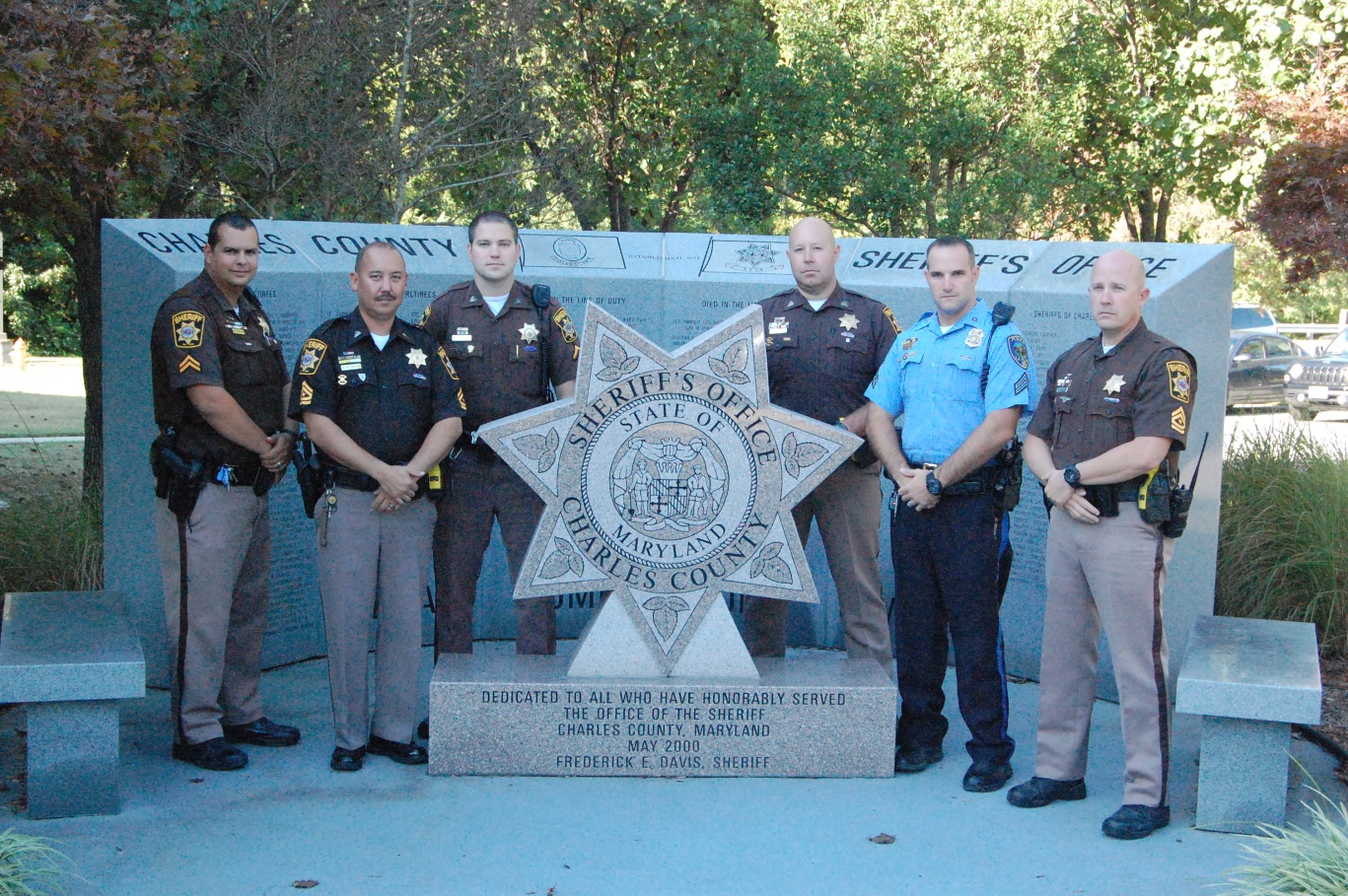 Drug Recognition Experts, from Left to Right: Cpl. Brad Saunders, M/Cpl. Charles McCue (DRE Instructor), Pfc. Matt Kelly, Pfc. Ray Brooks, Cpl. Matt Norris (La Plata Police Department) and M/Cpl. Jason Hopkins