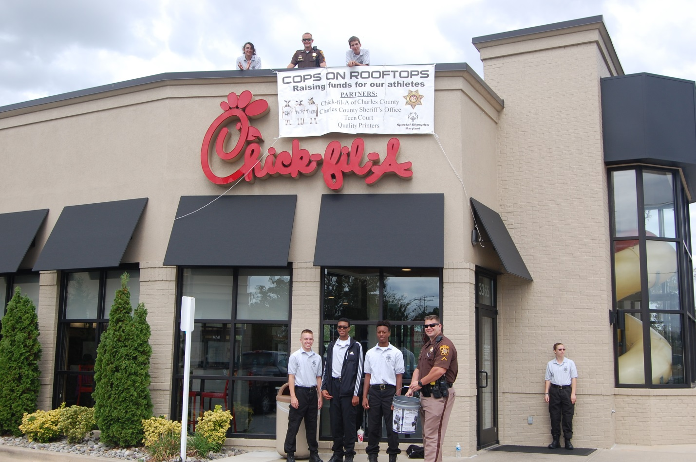 Officers and Explorers collected donations at the Waldorf and La Plata Chick-fil-A locations